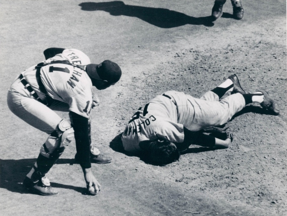 Catcher Bill Freehan checks on his pitcher Joe Coleman, who was hit in the head by a line drive March 27, 1971
