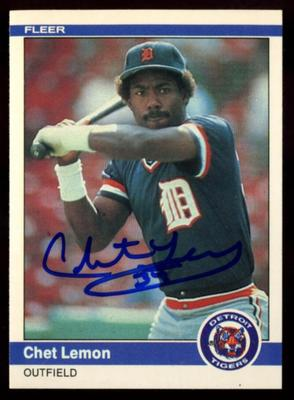 1984 Fleer # 85 Chet Lemon Autographed